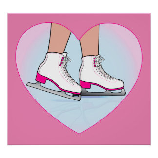 Ice Skates in Pink in a Heart Poster