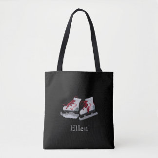 Ice skates on black background with name tote bag