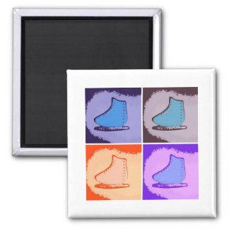 Ice Skates Square Magnet