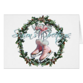 ICE SKATES & WREATH by SHARON SHARPE Greeting Card