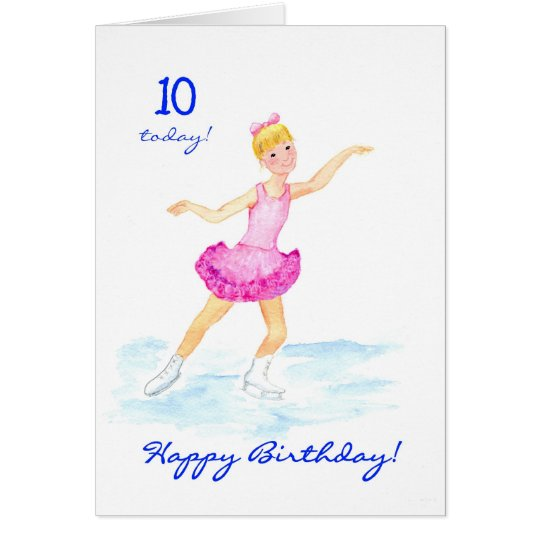 Ice-skating 10th Birthday Card for a Girl