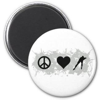 Ice skating 6 cm round magnet