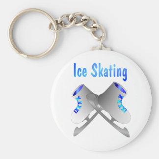 Ice Skating Basic Round Button Key Ring