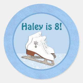 Ice Skating Birthday BLUE Ice Princess Classic Round Sticker