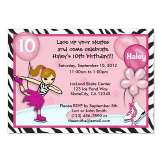 Ice Skating Birthday Invitation zebra print pink
