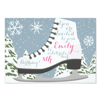 Ice Skating Birthday Party for Kids 13 Cm X 18 Cm Invitation Card