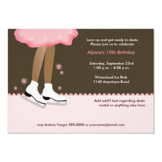 Ice Skating Birthday Party Invitation-Dark 13 Cm X 18 Cm Invitation Card