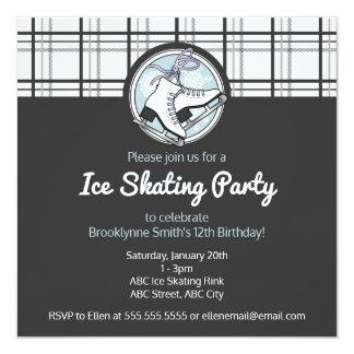 Ice Skating Birthday Party Tartan Pattern Girly Card