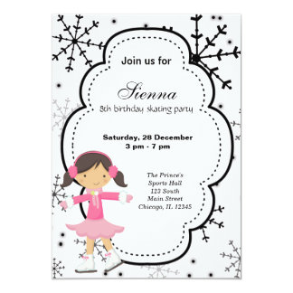 Ice Skating Birthday (White) Card