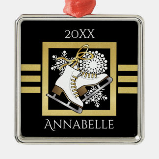 Ice Skating Black Gold Modern Chic Personalized Christmas Ornament