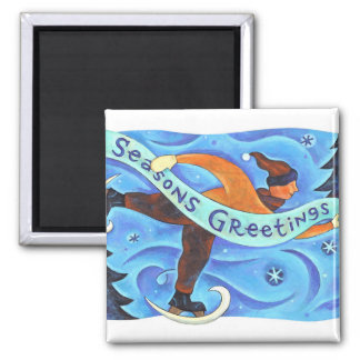 Ice Skating Boy in Blue Season's Greetings Winter Magnets