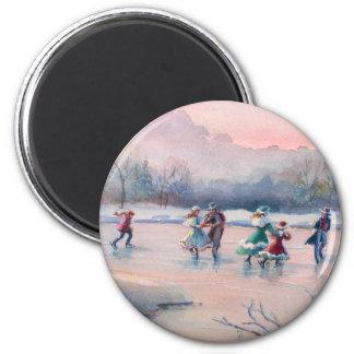 ICE SKATING by SHARON SHARPE 6 Cm Round Magnet