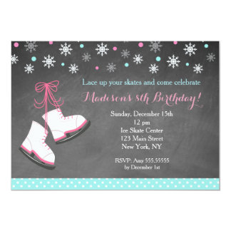 Ice Skating Chalkboard Birthday Invitations