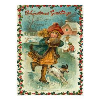 Ice Skating Christmas Card 14 Cm X 19 Cm Invitation Card