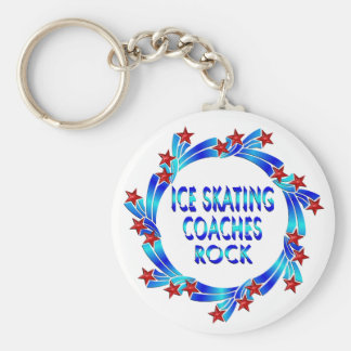 Ice Skating Coaches Rock Red Stars Basic Round Button Key Ring