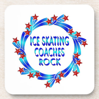 Ice Skating Coaches Rock Red Stars Beverage Coasters
