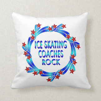 Ice Skating Coaches Rock Red Stars Throw Pillows