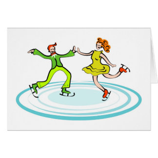 Ice Skating Couple Card