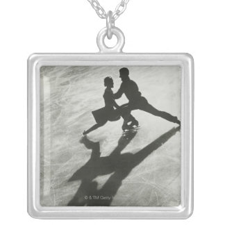 Ice Skating Couple Silver Plated Necklace