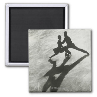 Ice Skating Couple Square Magnet