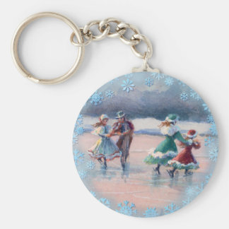 ICE SKATING COUPLES by SHARON SHARPE Card Basic Round Button Key Ring