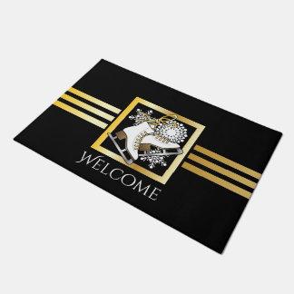 Ice Skating / Figure Skating Black Gold Stylish Doormat