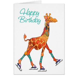 Ice Skating Giraffe Birthday Card