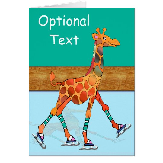 Ice Skating Giraffe & Rink - Customisable Card
