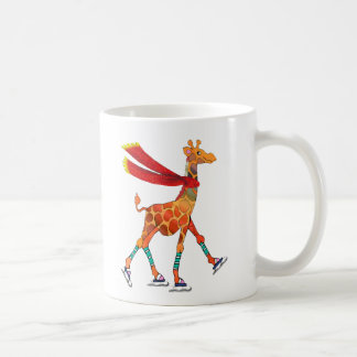 Ice Skating Giraffe with Scarf Coffee Mug