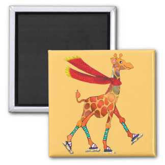 Ice Skating Giraffe with Scarf Square Magnet