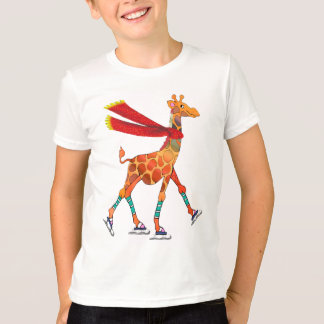 Ice Skating Giraffe with Scarf T-Shirt