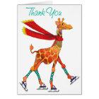 Ice Skating Giraffe with Scarf Thanks Card