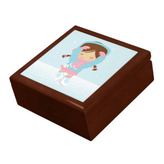 Ice Skating Girl Large Square Gift Box