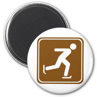 Ice Skating Highway Sign 6 Cm Round Magnet