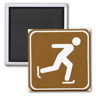 Ice Skating Highway Sign Square Magnet