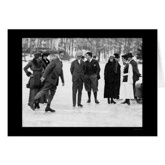 Ice Skating in Tuxedo Park NY 1920 Greeting Cards