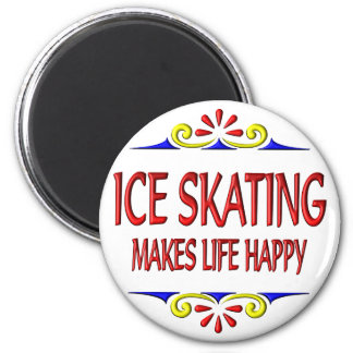 Ice Skating Makes Life Happy 6 Cm Round Magnet
