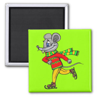 Ice Skating Mouse Square Magnet