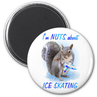Ice Skating Nut 6 Cm Round Magnet