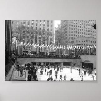 Ice Skating NYC Rockefeller Center, Black & White Poster