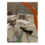 <Ice Skating on the Frozen Lake> by Georges Barbie Postcards