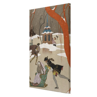 Ice Skating on the Frozen Lake Canvas Print
