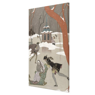 Ice Skating on the Frozen Lake,  illustration for Canvas Print