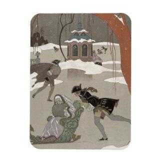 Ice Skating on the Frozen Lake,  illustration for Vinyl Magnet