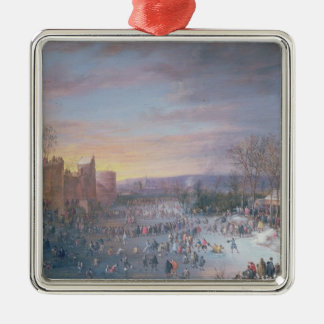 Ice Skating on the Stadtgraben in Brussels, 1649 Christmas Ornament