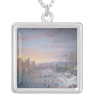 Ice Skating on the Stadtgraben in Brussels, 1649 Silver Plated Necklace