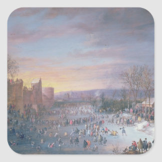 Ice Skating on the Stadtgraben in Brussels, 1649 Square Sticker