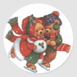 ice Skating Pair Round Sticker
