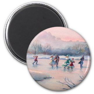 ICE SKATING PARTY by SHARON SHARPE Card 6 Cm Round Magnet