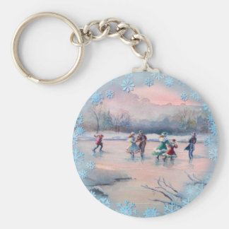 ICE SKATING PARTY by SHARON SHARPE Card Basic Round Button Key Ring